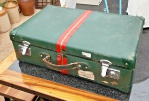 Vintage Hardshell Suitcase in Green with Red Stripe