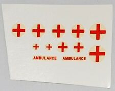 #168 Dinky/Corgi/MB Red Cross Transfers 10 on Round Backing + Ambulance words