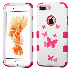 iPhone 7+ / 8+ Plus -  Hybrid Armor Hard&Soft Rubber Case Cover Pink Butterflies