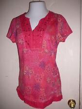 Women's Knit Top Sz M Great Northwest Short Sleeve V Neck Buttons Pink Cotton