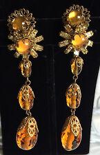 Vintage Miriam Haskell Extra Long Dangle Earrings~Art Glass/RS/Goldtone Filigree