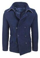 Cappotto giacca uomo slim fit blu casual giubbotto trench blazer doppiopetto