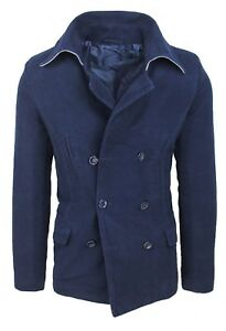 Men Coat Jacket Slim Fit Blue Casual Jacket Trench Blazer Double-Breasted