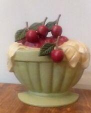 New listing Cast Iron Doorstop Jadeite Bowl Of Cherries Retro Farmhouse Kitchen, Painted