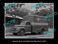 OLD LARGE HISTORIC PHOTO OF HOUSTON TEXAS, THE GULF COAST FILM TRUCKS c1950