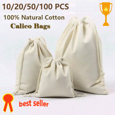 1/100 Calico Drawstring Bags Storage Natural Cotton Bags Linen Big Tote Bag Tool