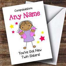 Congratulazioni asiatici NEW BABY TWIN GIRL Sorelle Personalizzata Sibling CARD