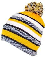 Best Winter Hats Quality Striped Variegated Cuff Beanie W/Pom - Black/Gold