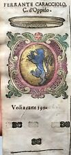 1586 ARALDICA STEMMA FERRANTE CARACCIOLO Conte di Oppido Regno Napoli
