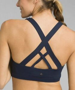 NEW prAna NAUTICAL NAVY BLUE VERANA RACERBACK STRAPPY YOGA WORKOUT SPORTS BRA S