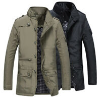 Mens Jacket Fashion Warm Winter Casual Coat Overcoat Outwear Trench Military Zip