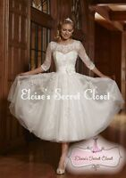 BEATRICE Ivory/White Tea Length Tulle Lace 50's Vintage Inspired Wedding Dress