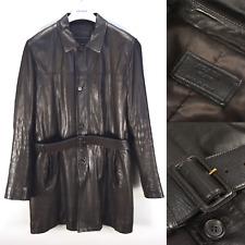 Amazing PRADA MILANO $5995 Brown Leather Lambskin Coat 54IT 44US Made in Italy