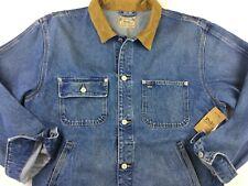 Polo Ralph Lauren Men  Corduroy Collar Dungaree VTG Denim Trucker Jean Jacket M