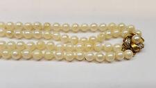 doppio filo Akoya Collana di perle 585er oro chiusura BRILLANTI Collier di perle