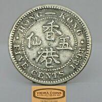1898 Hong Kong Silver 5 Cents, Free Shipping  -  #C19784NQ