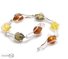 NATURAL BALTIC AMBER Gemstone Jewellery STERLING SILVER 925 BRACELET Certified