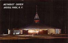 AVERILL PARK  NEW YORK METHODIST CHURCH AT NIGHT POSTCARD 1960s
