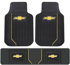 New Licensed Elite Chevy Style Heavy Duty Rubber Front Floor Mats & Runner