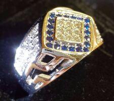 MEN.S millionaire Sapphire quartz and diamond quartz white gold gf ring size 8