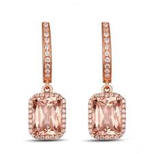 14K Rose Gold Natural Diamond Emerald Pink Morganite Leverback Charm Earrings