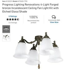 PROGRESS LIGHTING Renovations 4-Light Ceiling Fan Light Kit Forged BRONZE