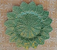 "BORDALLO PINHEIRO PORTUGAL POTTERY LEMON LEAF GREEN 13"" CHARGER PLATE"