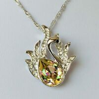 Crystal Swan Pendant Necklace Green Silver Adorned With Swarovski® Crystals