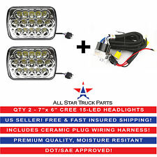 "7x6"" inch 15 LED H6054 Headlights & Relay Harness High/Low Beam 6000K 45W -Pair"