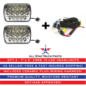 """7x6"""" inch 15 LED H6054 Headlights & Relay Harness High/Low Beam 6000K 45W -Pair"""