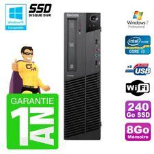 PC Lenovo M91p SFF Intel I3-2120 8Go Disque 240Go SSD Graveur Wifi W7