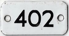 Old English small enamel house number 402 door gate plate fence plaque sign