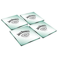 Jack Daniels Glass Drink Coasters Set of 4 Bar Man Cave Fathers Christmas Gift