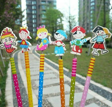 12pcs Pirate and Mermaid Wooden Pencil Kids Boy Girl Party Favor Supply Gift