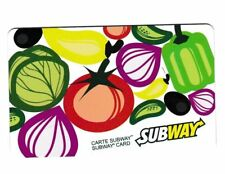 SUBWAY CANADA vegetables eat fresh GIFT CARD NO VALUE RECHARGEABLE