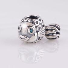 Splash Splash Fish Blue CZ Charm Bead fits European Bracelet, Sterling Silver