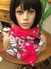 Vintage French Linen Floral Scarf/Snood/Cowl/Neckwarmer with Fleece Lining