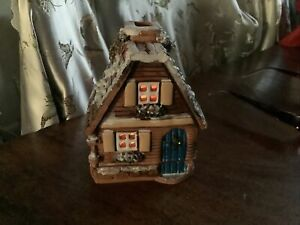 Vintage Snowy Christmas German House Handmade Terracotta Tea light holder