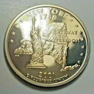 Beautiful Gold Toned 2001 S Proof New York 50 States Quarters Dcam BU  Coin