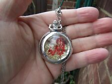real flowers necklace pendant pocket watch long chain vintage fashion