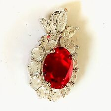 Magnificent Fine Ruby Star Christmas Pendant, Sterling Silver 925