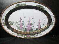 "Oriental Asian vintage Decorative Platter Gold Encrusted & Black Heavy 11 3/4"""