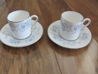 Wedgwood Belle Fleur Bone China-Blue & Gray Flowers-2 Demitasse Cups & Saucers