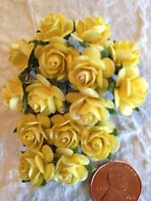 "15 Yellow 1/2"" Mulberry Paper Roses Handmade Rose craft card Wedding Anniversary"