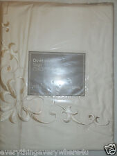 John Lewis Scroll Embroidery Single Duvet Cover 100% Cotton - Oyster RRP £75