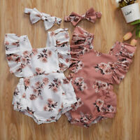 Infant Newborn Baby Girls Ruched Floral Print Romper Bodysuit Outfits Clothes