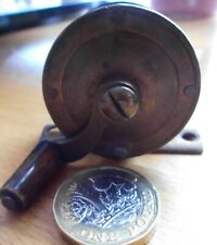 "Vintage Antique 2"" Brass Fly Fishing Wheel, Bone Handle."
