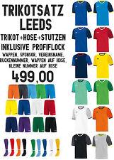 JAKO 14er Trikotsatz Leeds + Hose + Stutzen + Profibeflockung