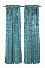 "CaliTime Teal Turquoise Window Curtain Valance Panel Floral Thick Jacquard  56""W"