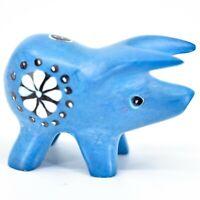Tabaka Chigware Hand Carved Kisii Soapstone Sky Blue Pig Miniature Mini Figurine